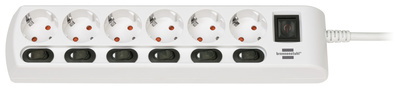 Brennenstuhl 6-Way Socket Device Switchs WH